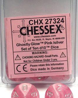 Dados Chessex Ghostly Glow Rosado / Plata Set de 10 D10