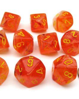 Dados Chessex Ghostly Glow Naranja / Amarillo Set de 10 D10