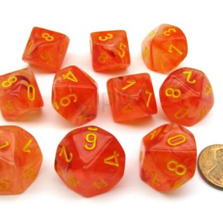 Dados Chessex Ghostly Glow Naranja / Amarillo Set de 10 D10