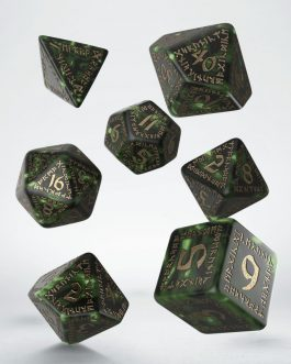 Runic Bottle-green & gold set de 7 Dados