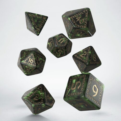 Runic Bottle-green & gold set de 7 Dados