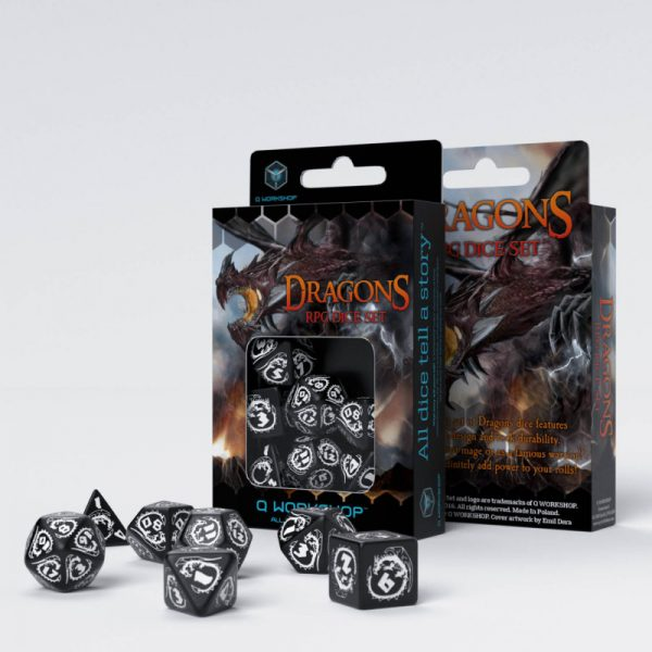 Dragons Black & white Set de 7 Dados